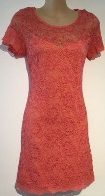 FOREVER 21 CORAL LACE LAYERED DRESS SIZE XS 8